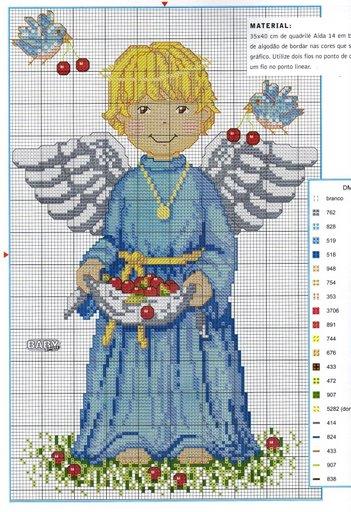Схемы детской вышивки крестиком. Ангелочки (22) (351x512, 64Kb)