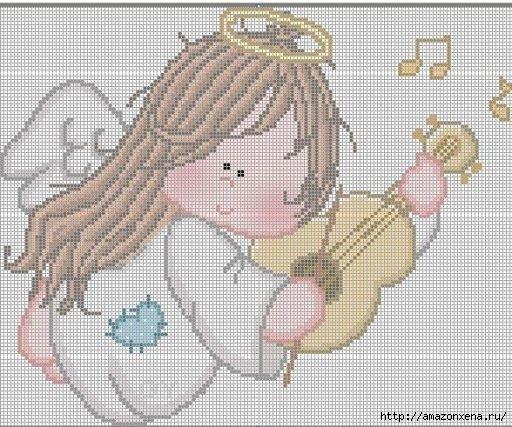 Схемы детской вышивки крестиком. Ангелочки (24) (512x427, 184Kb)