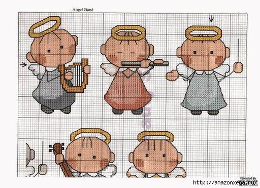 Схемы детской вышивки крестиком. Ангелочки (26) (512x371, 140Kb)
