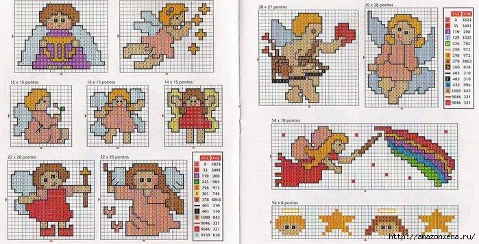 Схемы детской вышивки крестиком. Ангелочки (30) (700x357, 214Kb)