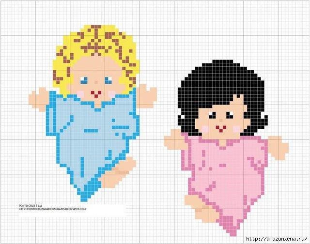Схемы детской вышивки крестиком. Ангелочки (34) (640x504, 171Kb)