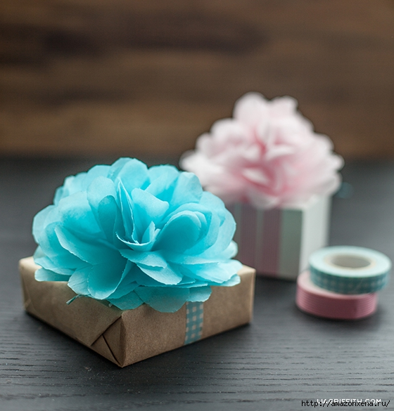 Цветы из папиросной бумаги для украшения подарков (10) (560x585, 191Kb)