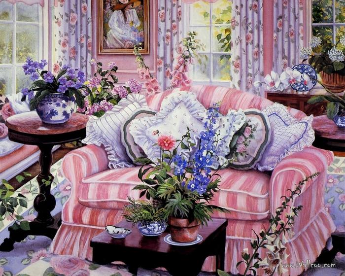 Комната с цветами картинки 5