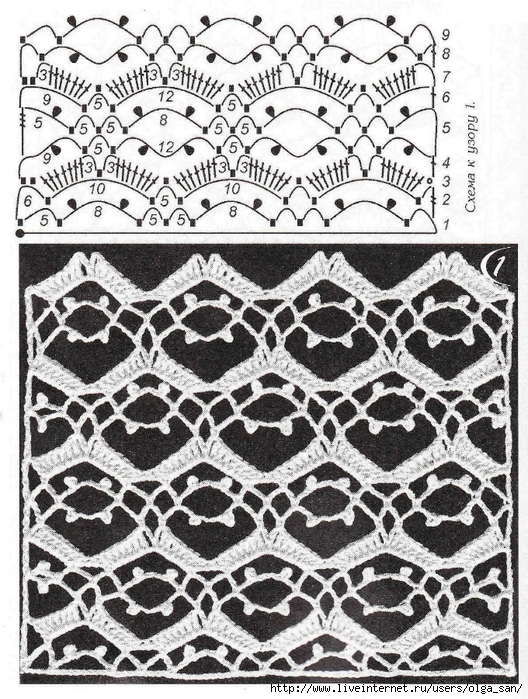钩针图案·丁香花方格模型等