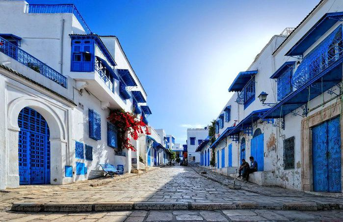 Сиди-бу-Саид — живописная деревня, расположенная в 17 километрах от города Туниса. Он стоит на живописной возвышенности, омываемой волнами Карфагенского залива (700x452, 80Kb)