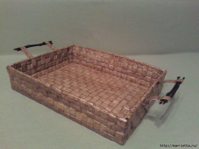 Корзинка из бумажных полосок. Плетение. Мастер-класс (41) (640x480, 103Kb)