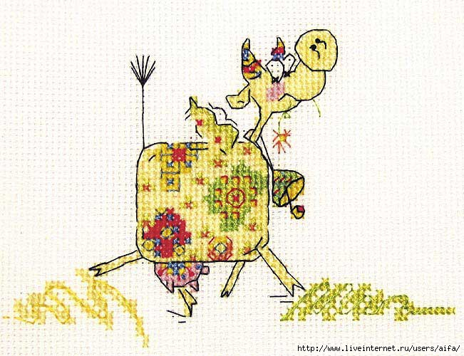 Вышивка корова в цветах
