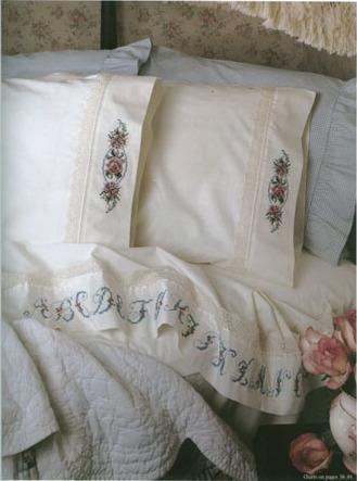 Вышивка крестом постельное бельё