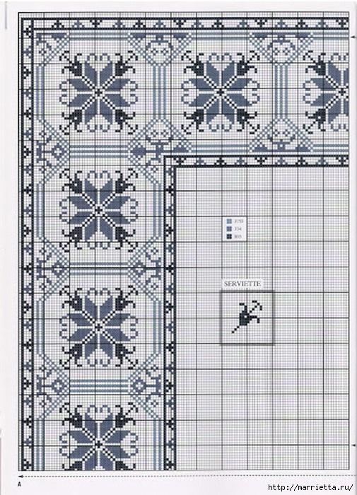 Схемы вышивки на marrietta.ru.  Несколько идей со схемами вышивки крестиком для скатерти.