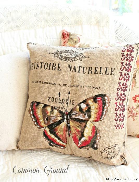 вышивка гладью на мешковине. подушки с птичками и бабочками (5) (534x700, 355Kb)