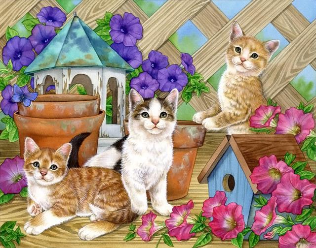 """Схема вышивки  """"Котята в саду """" ."""