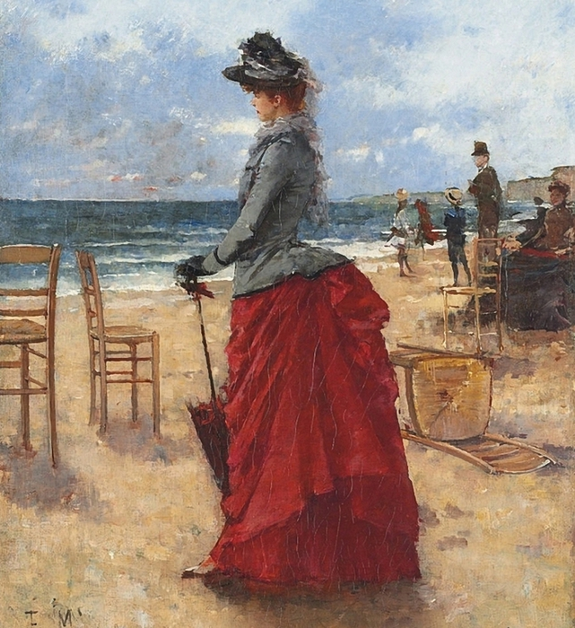 Francisco Miralles y Galup. An elegant lady on the beach (641x700, 370Kb)