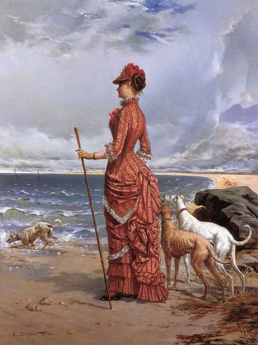 Edmond-Louis Dupain (French, b. 1847), Elegant Lady Walking Her Greyhounds on the Beach (522x700, 337Kb)