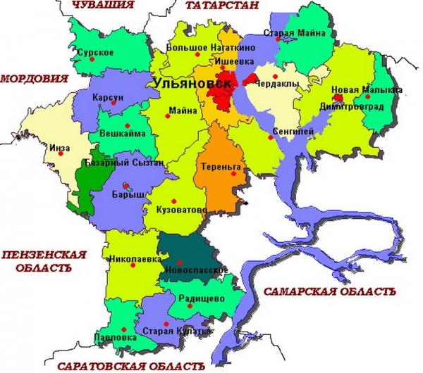 Карта Ульяновской области.