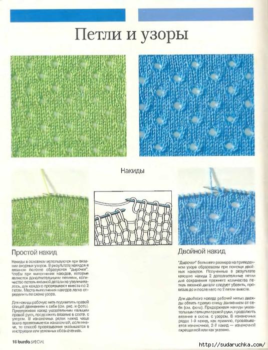 Рисунок вязания с накидами 946