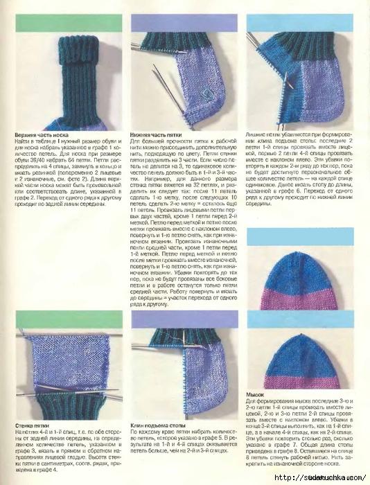 Вязание носка на 5 спицах