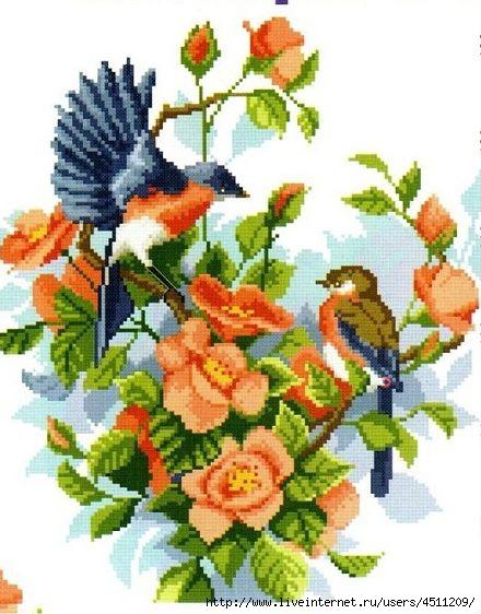 Птицы в цветах. Вышивка