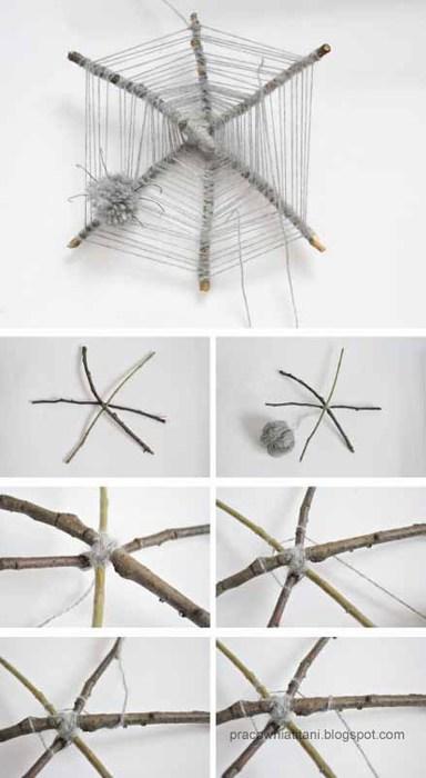 Декоративная паутина из веток с пауками из помпонов (1) (384x700, 46Kb)