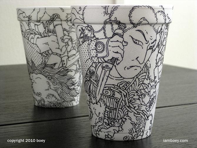 Cheeming Boey рисунки на одноразовых стаканчиках (670x503, 378Kb)