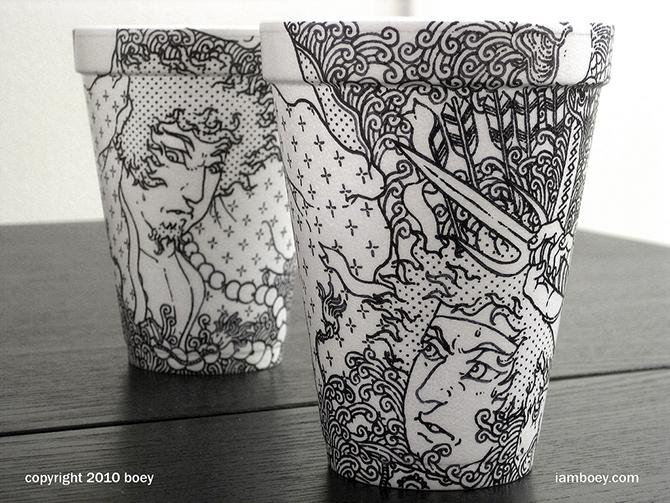 Cheeming Boey рисунки на одноразовых стаканчиках 2 (670x503, 377Kb)