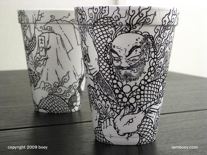 Cheeming Boey рисунки на одноразовых стаканчиках 4 (670x503, 376Kb)