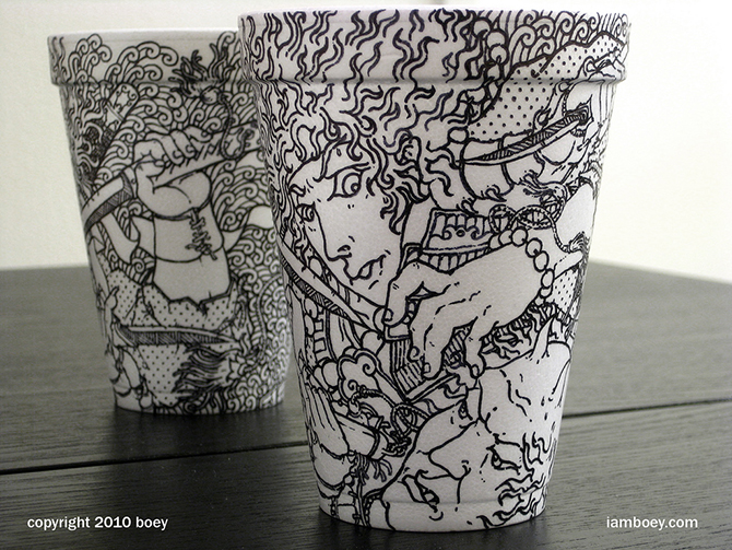 Cheeming Boey рисунки на одноразовых стаканчиках 11 (670x503, 394Kb)