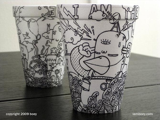 Cheeming Boey рисунки на одноразовых стаканчиках 13 (670x503, 116Kb)
