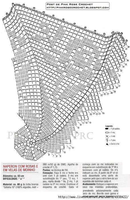 Centrinho Naperon Rosas e Velas de Moinho. Croche gr (456x700, 274Kb)