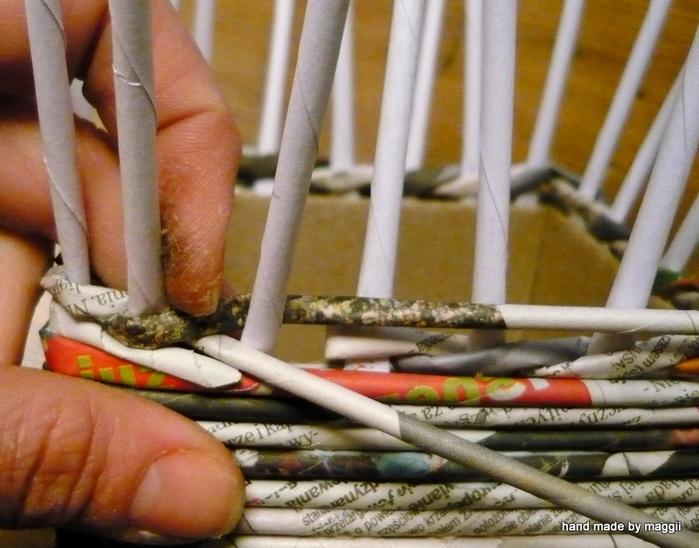 плетение из газет. корзинка с декупажем (8) (700x548, 340Kb)