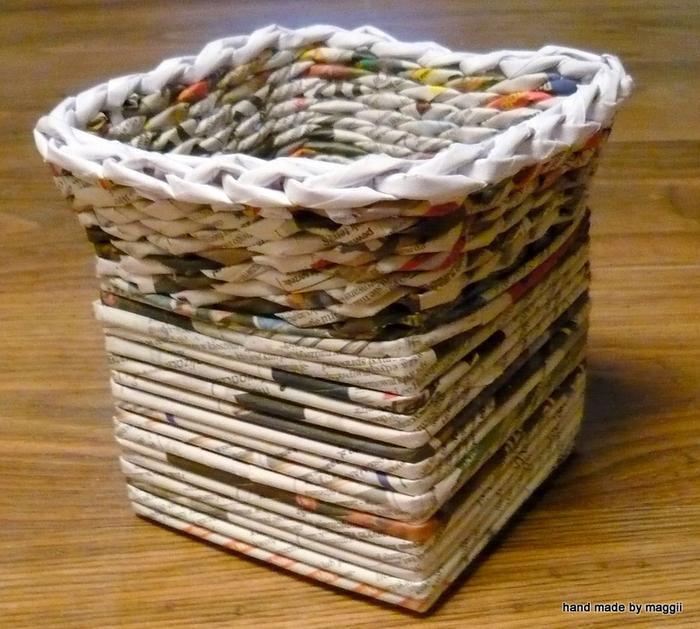 плетение из газет. корзинка с декупажем (14) (700x629, 412Kb)