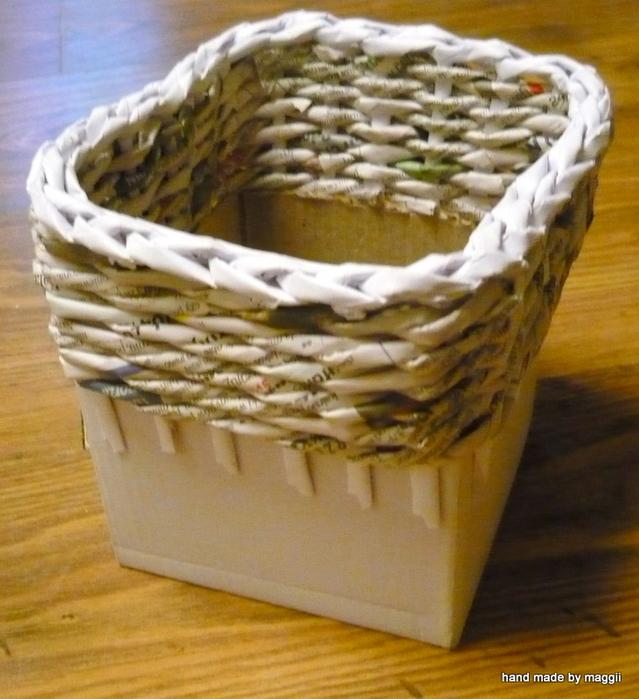 плетение из газет. корзинка с декупажем (20) (639x700, 363Kb)