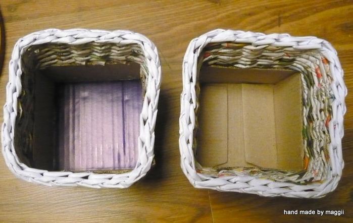 плетение из газет. корзинка с декупажем (21) (700x442, 270Kb)