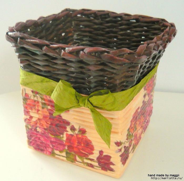 корзинки с декупажем. плетение из газет (3) (700x687, 360Kb)