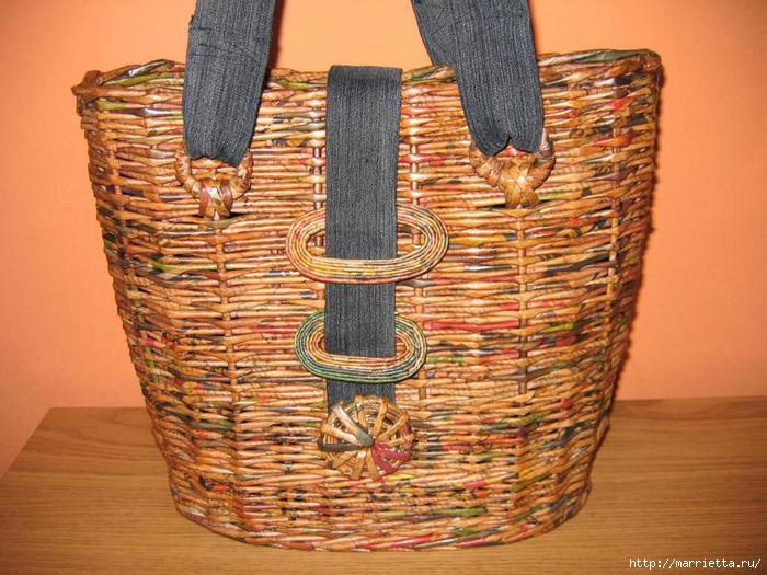 сумки из газетных трубочек. плетение из газет (19) (700x525, 210Kb)