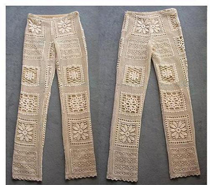 Вязаные брюки крючком.