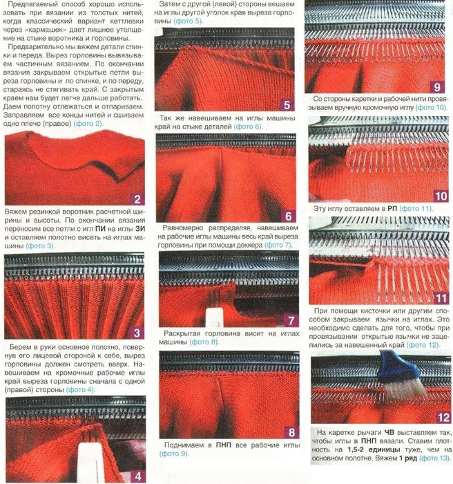 Обработка горловины при вязании на машине