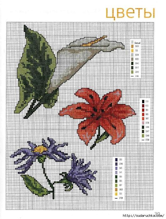 Цветы часть 9. Не сложные схемы для вышивки крестиком на цветочную тематику.