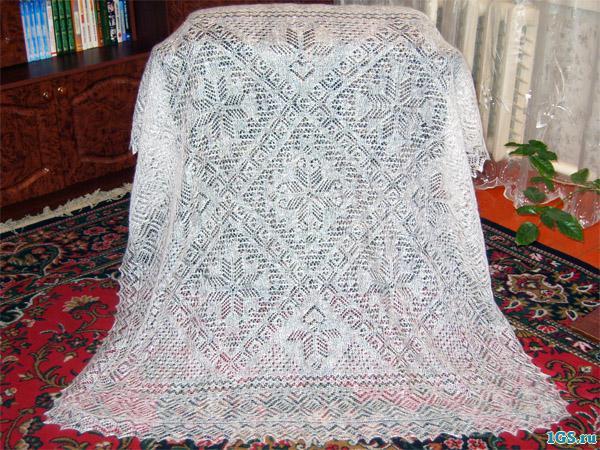 схемы вязания ажурных платков спицами.