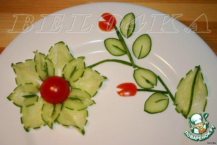 Как сделать украшение из огурца для салата