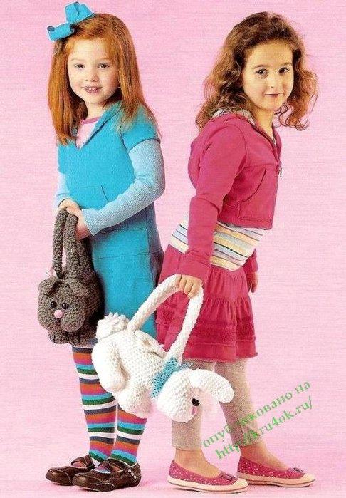 Вязаные сумки для девочек.