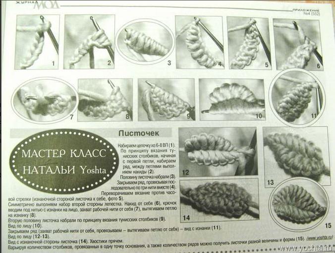 Вязание листочков крючком мастер класс видео