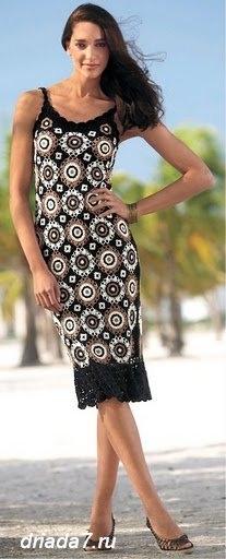 Платье из отдельных мотивов крючком