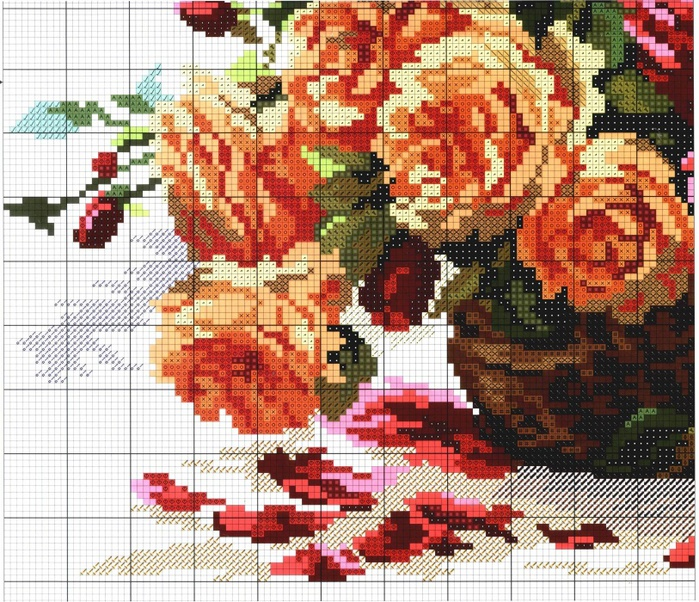 Вышивка крестом большие цветы
