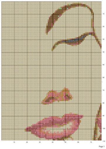Вышивка схема лицо-цветок