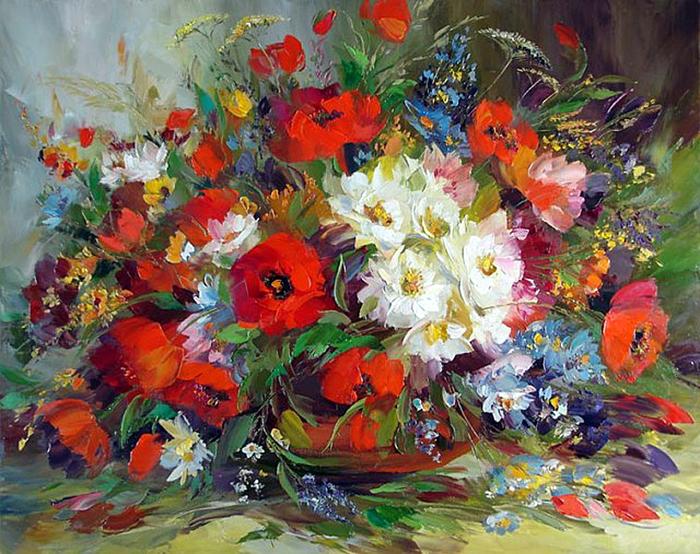 Цветы картинки нарисованные маслом 4