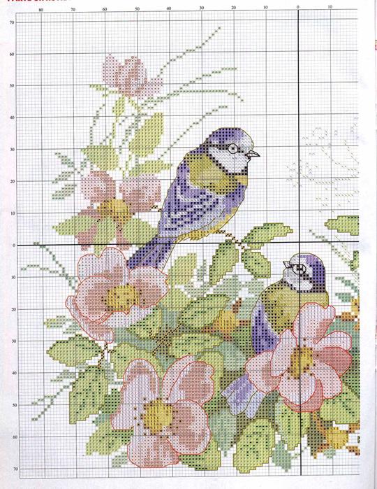 Схемы вышивок птиц с цветами