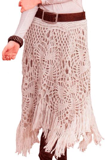 Белая юбка с ажурным узором,