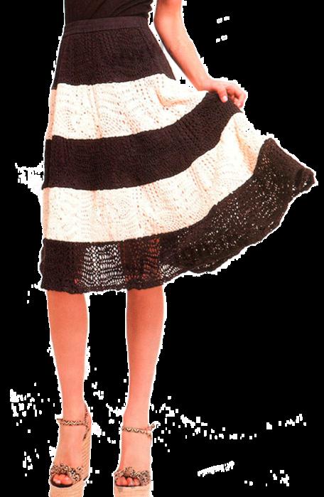Ажурная юбка в черно-белую