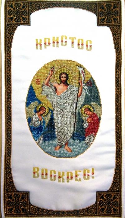 В комплект входит: инструкция по вышивке рушника, ткань с рисунком, игла, бисер Preciosa (Чехия) .