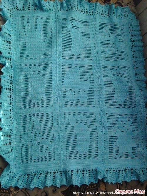 Плед с сердечками спицами теневое вязание 35